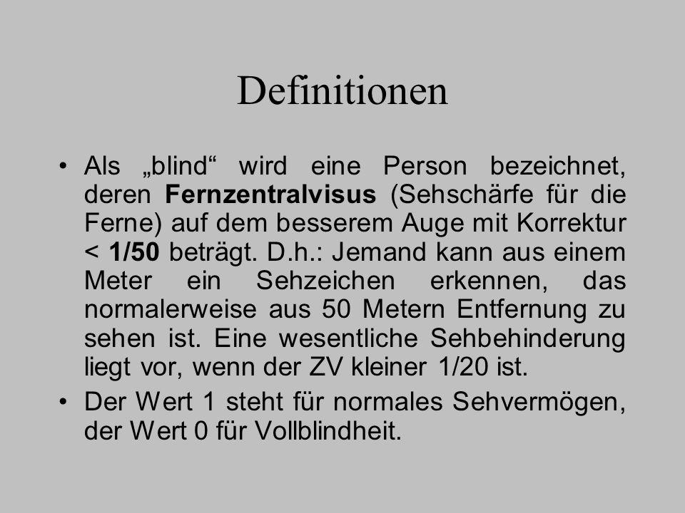 Definitionen Als blind wird eine Person bezeichnet, deren Fernzentralvisus (Sehschärfe für die Ferne) auf dem besserem Auge mit Korrektur < 1/50 beträ