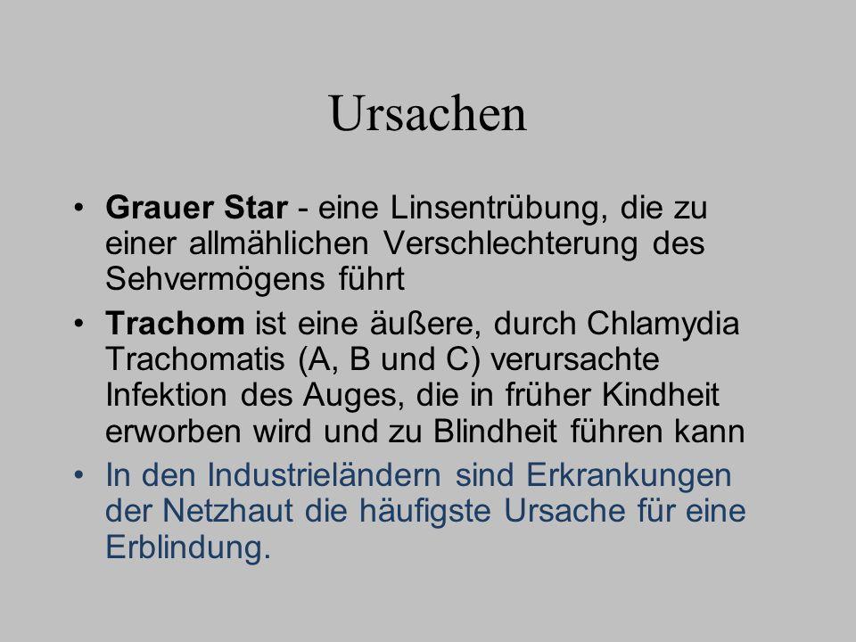 Ursachen Grauer Star - eine Linsentrübung, die zu einer allmählichen Verschlechterung des Sehvermögens führt Trachom ist eine äußere, durch Chlamydia