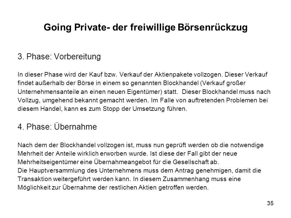 35 Going Private- der freiwillige Börsenrückzug 3. Phase: Vorbereitung In dieser Phase wird der Kauf bzw. Verkauf der Aktienpakete vollzogen. Dieser V