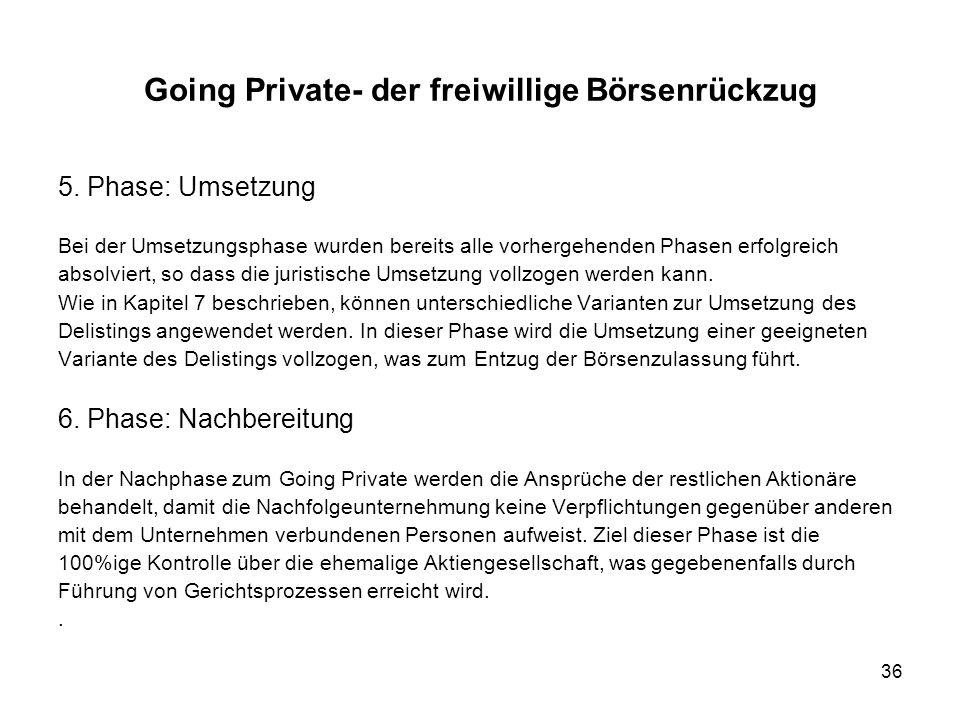 36 Going Private- der freiwillige Börsenrückzug 5. Phase: Umsetzung Bei der Umsetzungsphase wurden bereits alle vorhergehenden Phasen erfolgreich abso