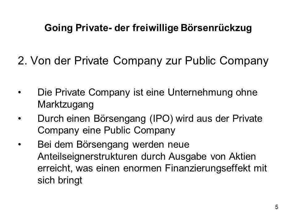 26 Transaktionen durch unternehmensexterne Personen Management-Buy-In (MBI) Diese Variante der beteiligten Personen und auch Initiatoren für das Going Private ist ähnlich dem MBO bis auf die Tatsache, dass eine externe Gruppe von Managern sich in das Unternehmen einkauft und nicht das eigene Management rauskauft.