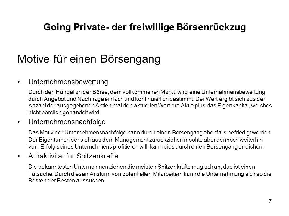 38 Going Private- der freiwillige Börsenrückzug 12.