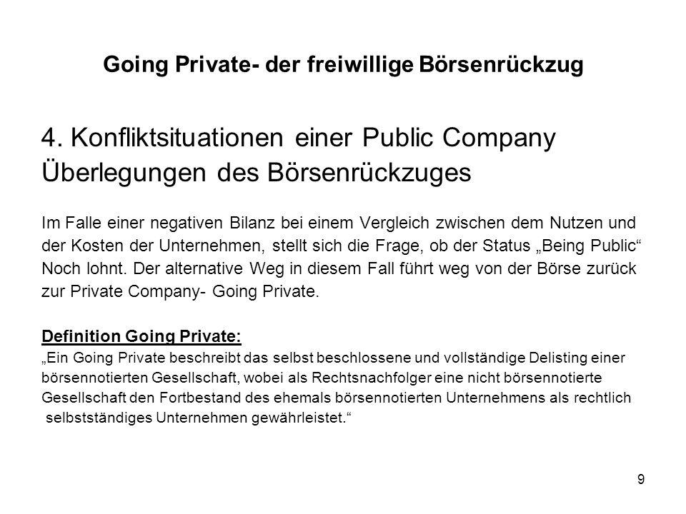 10 Der Umfang eines Börsenrückzuges kann vollständig oder teilweise vollzogen werden Im Falle eines teilweisen Rückzuges wird nur ein Börsenplatz oder ein Börsensegment aufgegeben, was keinem Going Private entspricht Ein vollständiger Börsenrückzug bedeutet das die Börsenzulassung und damit jegliche Börsennotiz gelöscht werden und das Unternehmen von da an als Private Company agiert Die Unternehmensform, die für die Private Company gewählt wird, entspricht meistens einer GmbH & Co.