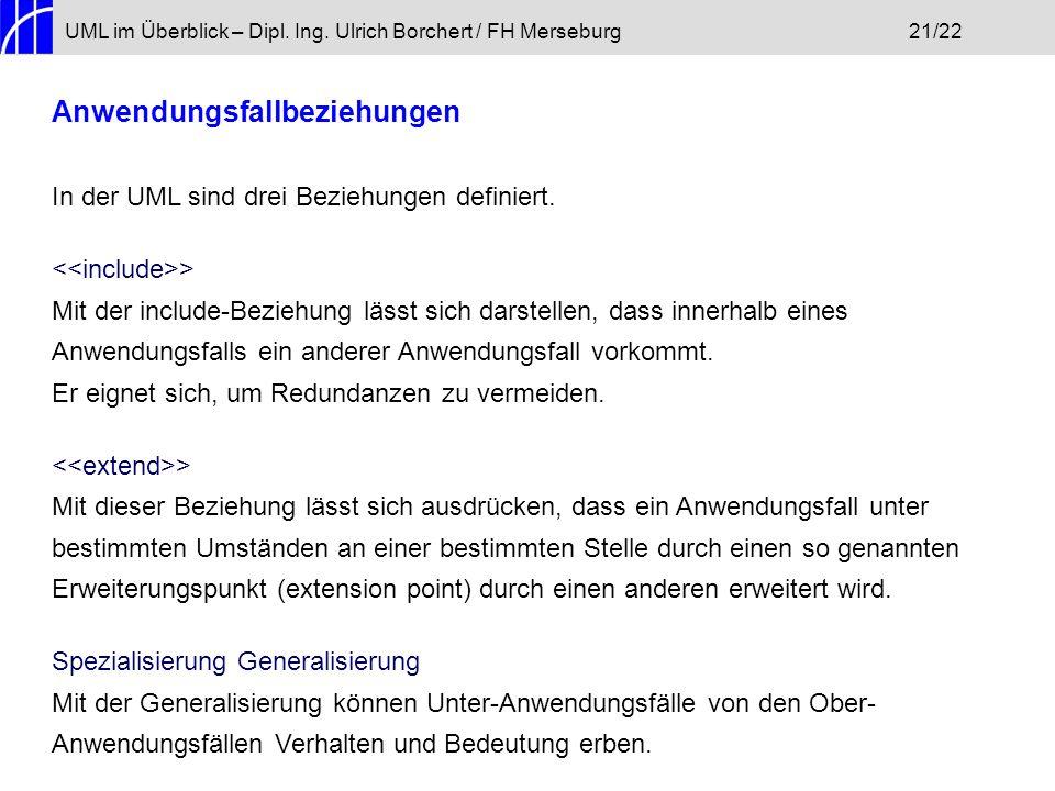 UML im Überblick – Dipl. Ing. Ulrich Borchert / FH Merseburg21/22 Anwendungsfallbeziehungen In der UML sind drei Beziehungen definiert. > Mit der incl