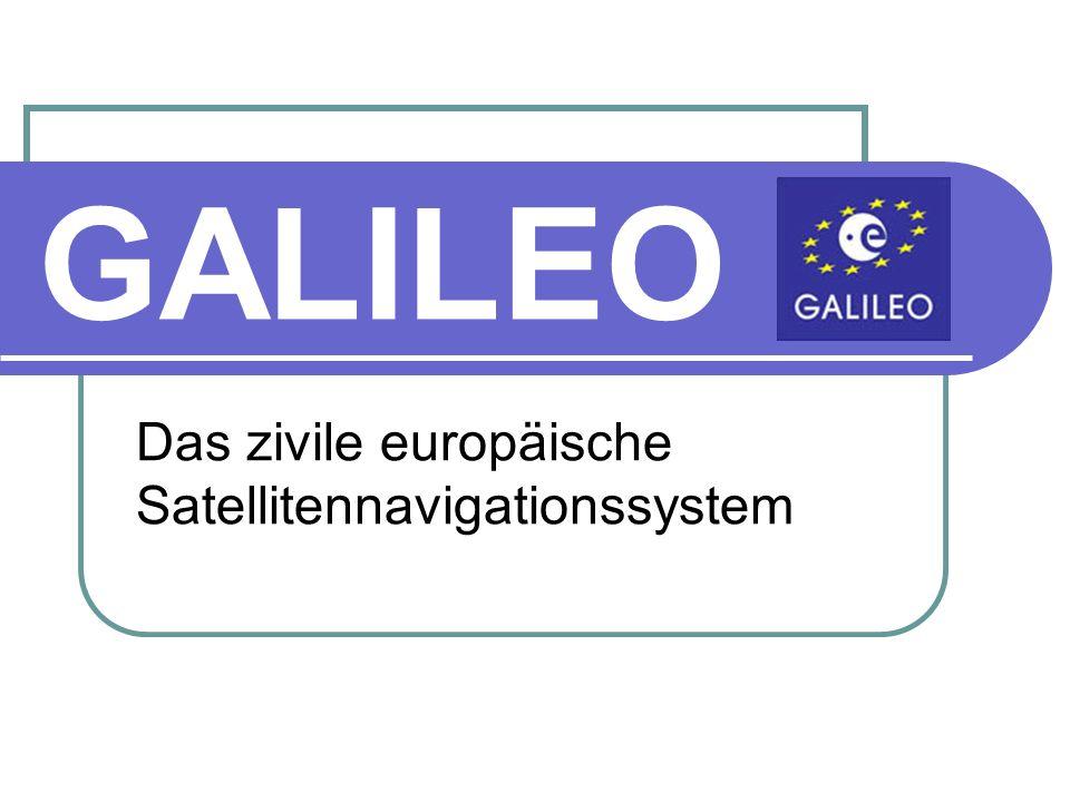 Phasen von GALILEO Planungs- und Definitionsphase Technische Daten der Satelliten Galileo IOV (die ersten vier Satelliten) Abmessungen: 2,70m x 1,20m x 1,10m Spannweite der Solarpanels: 13m Startmasse: 680kg Elektrische Leistung: 1500W (nach 12 Jahren) Lebensdauer (mindestens): 12 Jahre Hersteller: Galileo Industries Start: ab 2008 Startort: Kosmodrom Baikonur Träger: Sojus-Fregat (für weitere Satelliten auch Ariane 5)