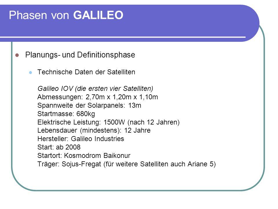 Phasen von GALILEO Planungs- und Definitionsphase Technische Daten der Satelliten Galileo IOV (die ersten vier Satelliten) Abmessungen: 2,70m x 1,20m