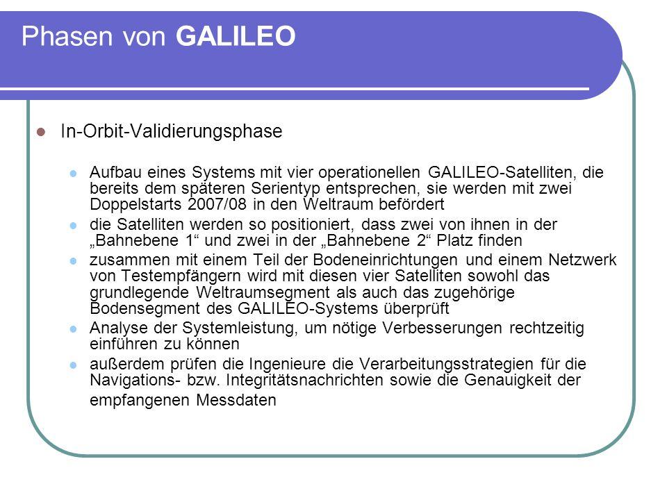 Phasen von GALILEO In-Orbit-Validierungsphase Aufbau eines Systems mit vier operationellen GALILEO-Satelliten, die bereits dem späteren Serientyp ents