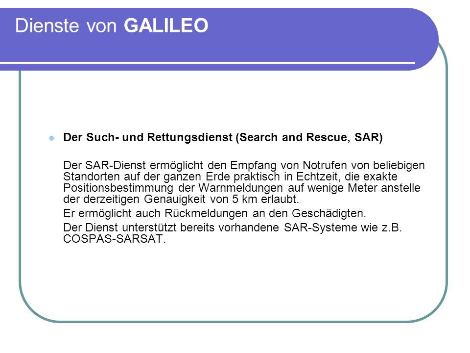 Dienste von GALILEO Der Such- und Rettungsdienst (Search and Rescue, SAR) Der SAR-Dienst ermöglicht den Empfang von Notrufen von beliebigen Standorten