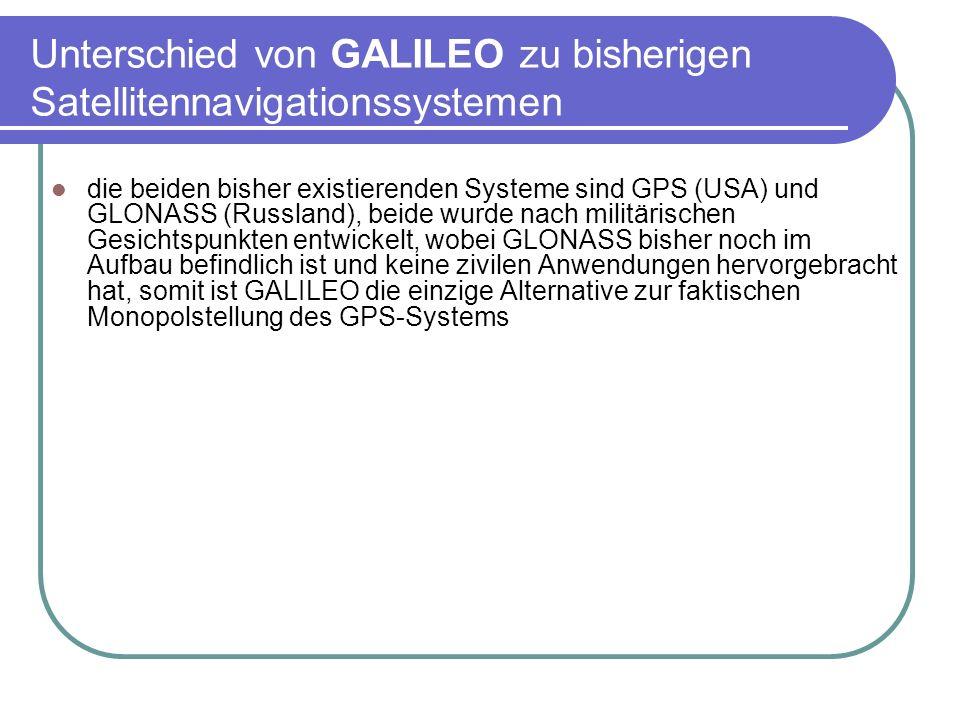 Unterschied von GALILEO zu bisherigen Satellitennavigationssystemen die beiden bisher existierenden Systeme sind GPS (USA) und GLONASS (Russland), bei