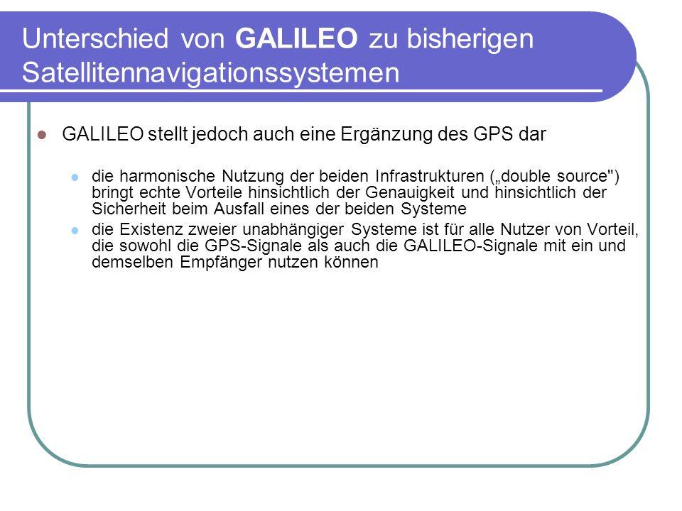 Unterschied von GALILEO zu bisherigen Satellitennavigationssystemen GALILEO stellt jedoch auch eine Ergänzung des GPS dar die harmonische Nutzung der