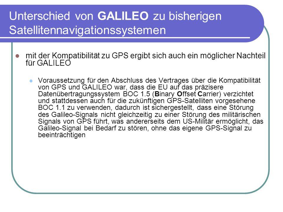 Unterschied von GALILEO zu bisherigen Satellitennavigationssystemen mit der Kompatibilität zu GPS ergibt sich auch ein möglicher Nachteil für GALILEO