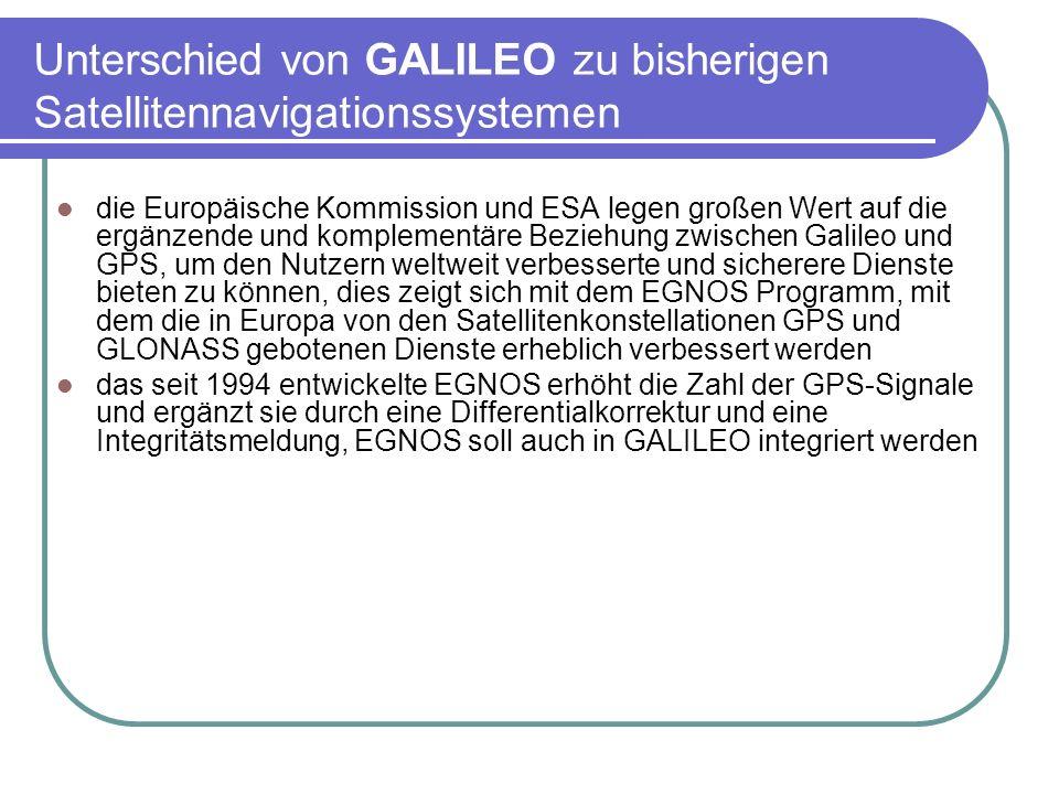 Unterschied von GALILEO zu bisherigen Satellitennavigationssystemen die Europäische Kommission und ESA legen großen Wert auf die ergänzende und komple