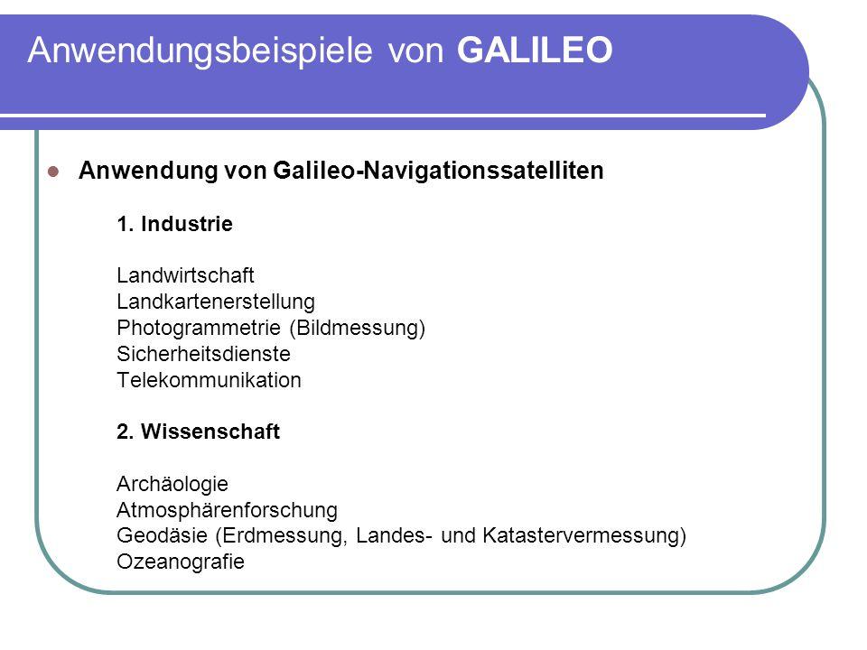 Anwendungsbeispiele von GALILEO Anwendung von Galileo-Navigationssatelliten 1. Industrie Landwirtschaft Landkartenerstellung Photogrammetrie (Bildmess