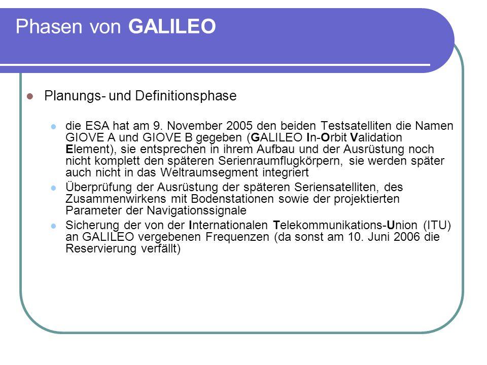 Phasen von GALILEO Planungs- und Definitionsphase die ESA hat am 9. November 2005 den beiden Testsatelliten die Namen GIOVE A und GIOVE B gegeben (GAL