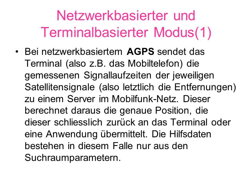 Netzwerkbasierter und Terminalbasierter Modus(1) Bei netzwerkbasiertem AGPS sendet das Terminal (also z.B.