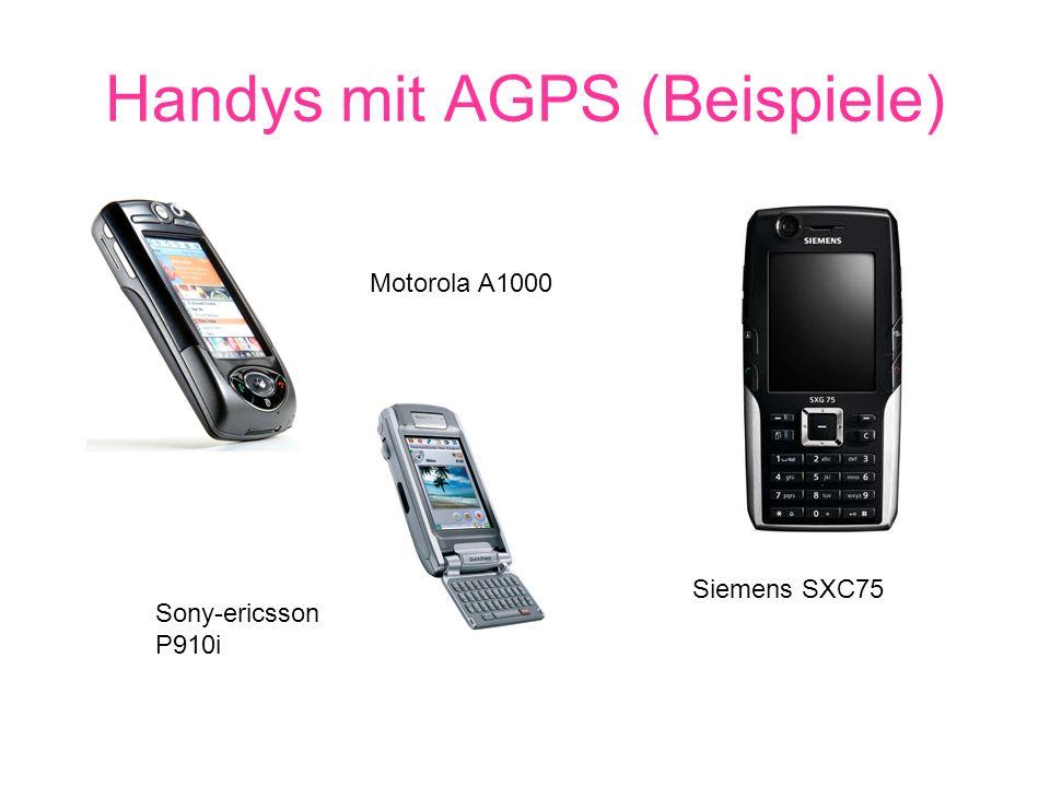 Handys mit AGPS (Beispiele) Motorola A1000 Siemens SXC75 Sony-ericsson P910i