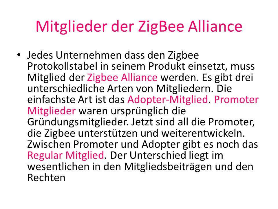 Spezifikationen 2002 wurde die ZigBee Alliance gegründet und hat in der Zwischenzeit mindestens 200 Mitglieder Die erste Spezifikation ZigBee 1.0 wurde 2004 verabschiedet und veröffentlicht 2006 kam die Version ZigBee 2006 als erweiterte Version In Arbeit ist die Version ZigBee Pro