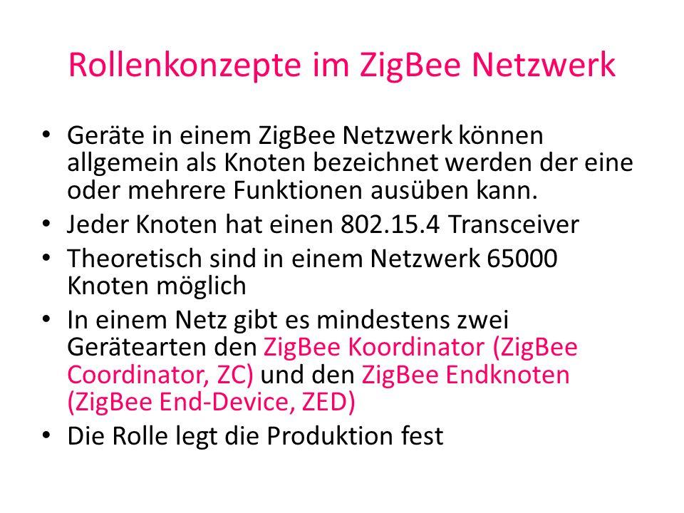 Rollenkonzepte im ZigBee Netzwerk Geräte in einem ZigBee Netzwerk können allgemein als Knoten bezeichnet werden der eine oder mehrere Funktionen ausüb