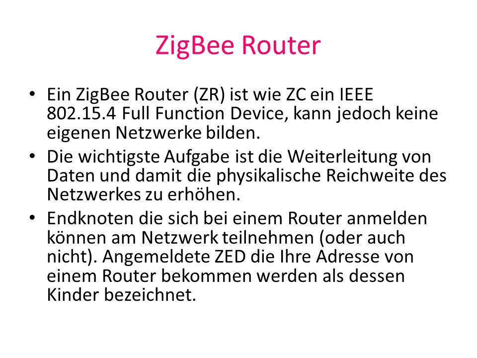 ZigBee Router Ein ZigBee Router (ZR) ist wie ZC ein IEEE 802.15.4 Full Function Device, kann jedoch keine eigenen Netzwerke bilden. Die wichtigste Auf