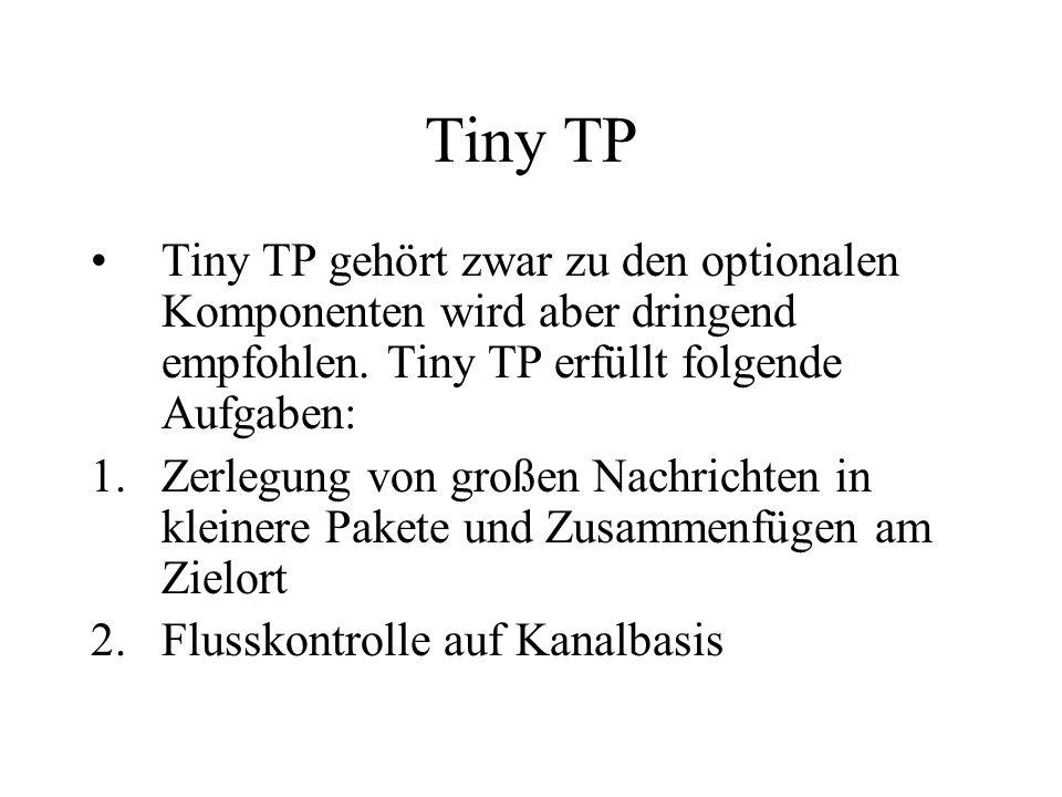 Tiny TP Tiny TP gehört zwar zu den optionalen Komponenten wird aber dringend empfohlen. Tiny TP erfüllt folgende Aufgaben: 1.Zerlegung von großen Nach