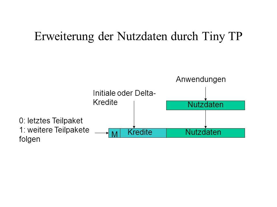 Erweiterung der Nutzdaten durch Tiny TP Anwendungen Nutzdaten Kredite M 0: letztes Teilpaket 1: weitere Teilpakete folgen Initiale oder Delta- Kredite