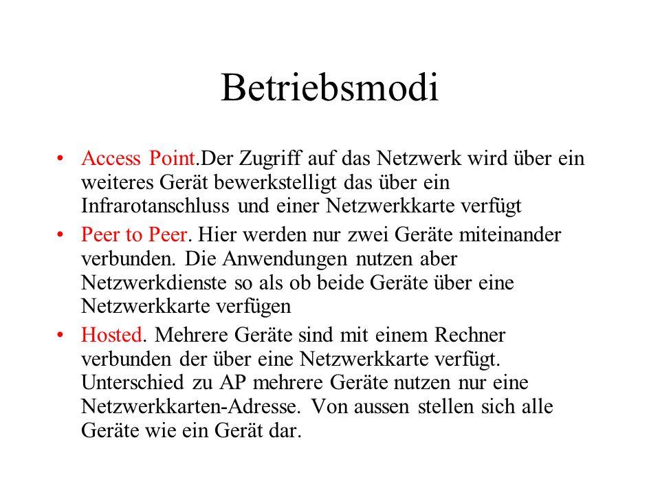 Betriebsmodi Access Point.Der Zugriff auf das Netzwerk wird über ein weiteres Gerät bewerkstelligt das über ein Infrarotanschluss und einer Netzwerkkarte verfügt Peer to Peer.