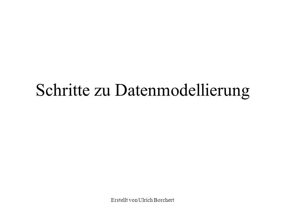 Erstellt von Ulrich Borchert Schritte zu Datenmodellierung