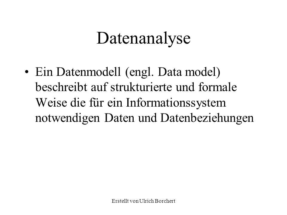 Erstellt von Ulrich Borchert Datenanalyse 2 Zur Beschreibung eines Ausschnittes aus der reallen Welt bis hin zur Festlegung der eigentlichen Datenbank sind drei wesentliche Schritte notwendig Datenanalyse Entwurf eines Entitäten Beziehungsmodells Relationales Datenbankschema