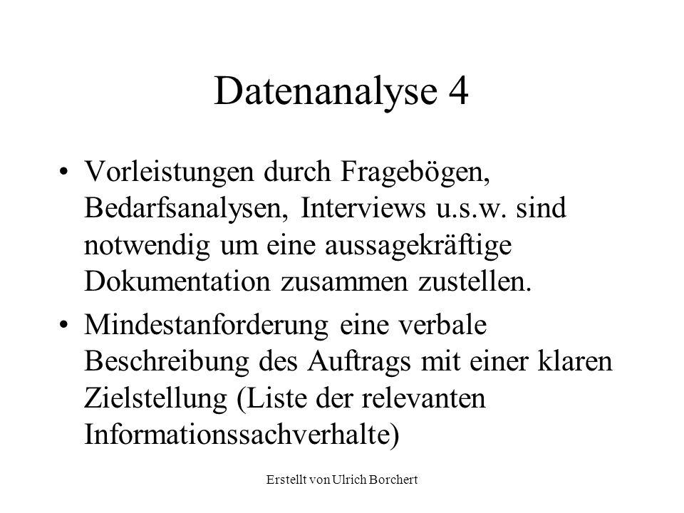 Erstellt von Ulrich Borchert DATENANALYSE Auftrag Nr 112 Datum 26.10.2004 Ziel Zur Projektkontrolle sind pro Abteilung Mitarbeiter, Aufwand und Projektzeiten periodisch zu erstellen 1.Mitarbeiter sind Abteilungen unterstellt, wobei keine mehrfachen Zuordnungen vorkommen.