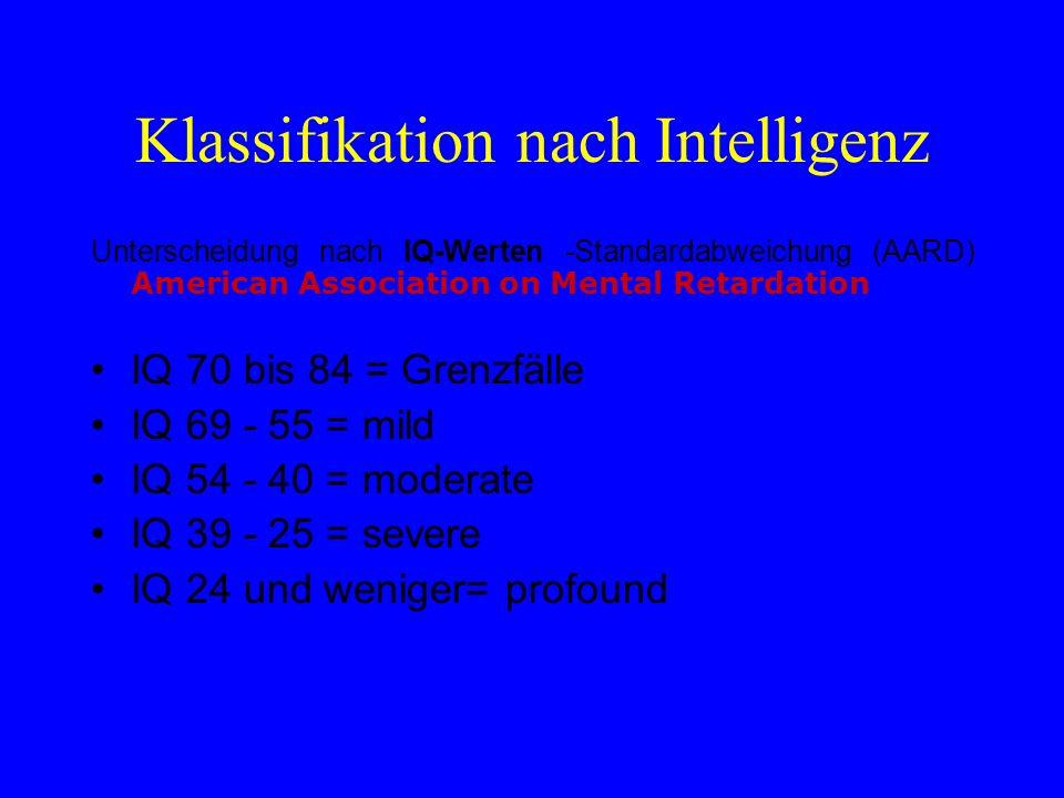 Klassifikation nach Intelligenz Unterscheidung nach IQ-Werten -Standardabweichung (AARD) American Association on Mental Retardation IQ 70 bis 84 = Gre