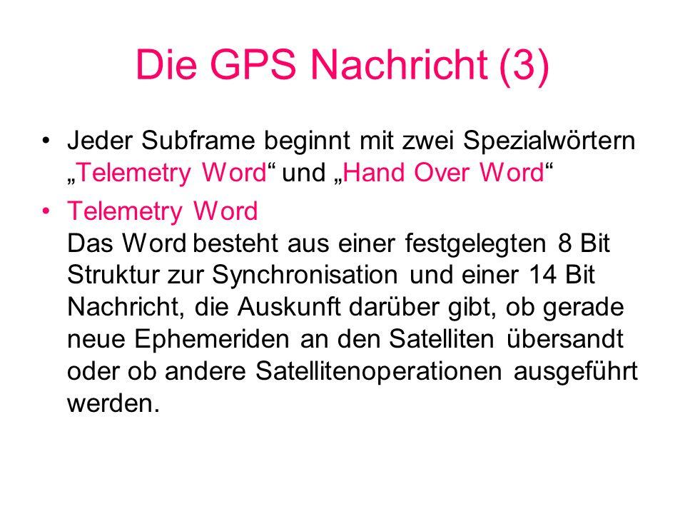 Inhalt von Subframe 4(1) Almanach und Informationen über den technischen Zustand der (z.Zt.