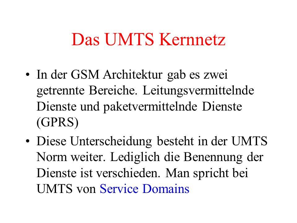Das UMTS Kernnetz In der GSM Architektur gab es zwei getrennte Bereiche. Leitungsvermittelnde Dienste und paketvermittelnde Dienste (GPRS) Diese Unter