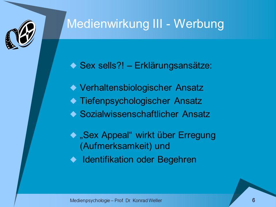 Medienpsychologie – Prof. Dr. Konrad Weller 6 Medienwirkung III - Werbung Sex sells?! – Erklärungsansätze: Verhaltensbiologischer Ansatz Tiefenpsychol