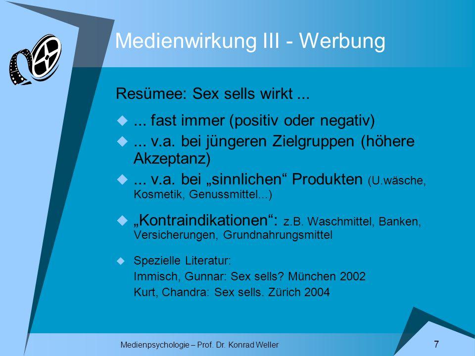 Medienpsychologie – Prof. Dr. Konrad Weller 7 Medienwirkung III - Werbung Resümee: Sex sells wirkt...... fast immer (positiv oder negativ)... v.a. bei