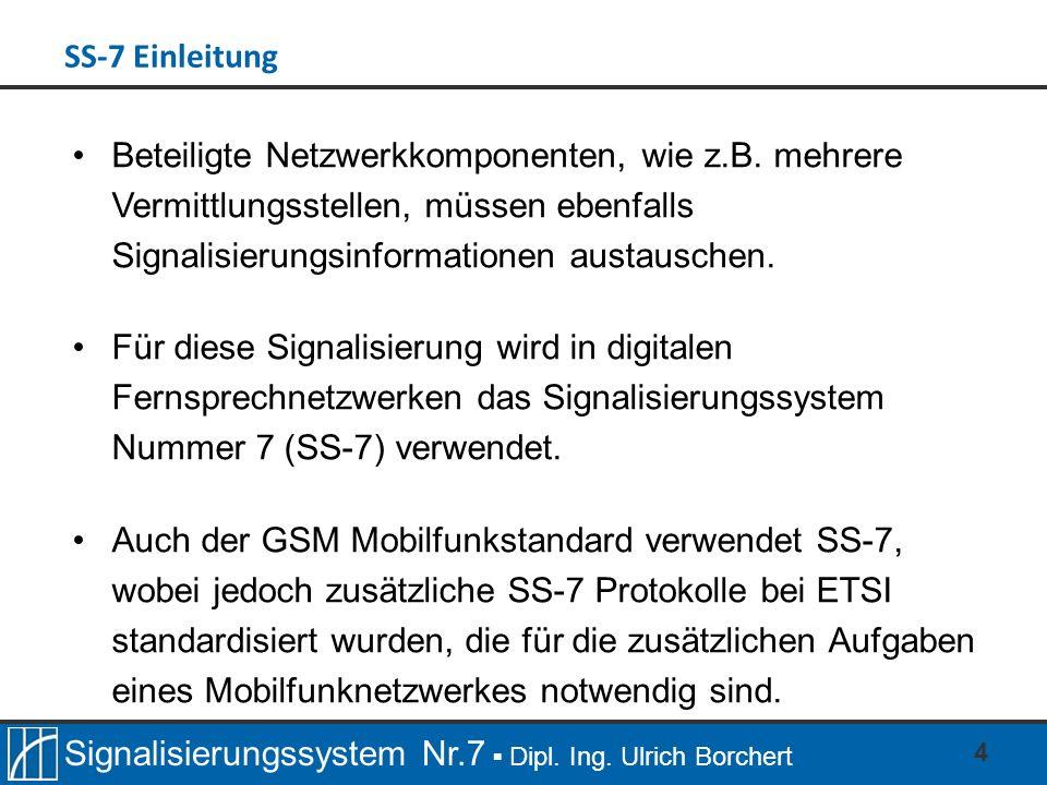 Signalisierungssystem Nr.7 Dipl. Ing. Ulrich Borchert 4 Beteiligte Netzwerkkomponenten, wie z.B.