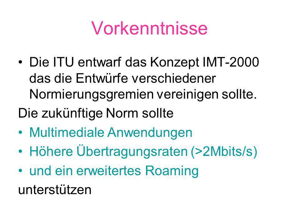 Vorkenntnisse Die ITU entwarf das Konzept IMT-2000 das die Entwürfe verschiedener Normierungsgremien vereinigen sollte.