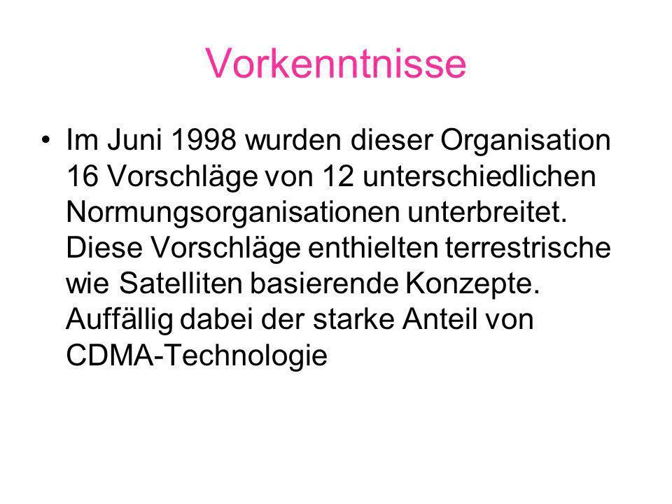 Vorkenntnisse Im Juni 1998 wurden dieser Organisation 16 Vorschläge von 12 unterschiedlichen Normungsorganisationen unterbreitet.