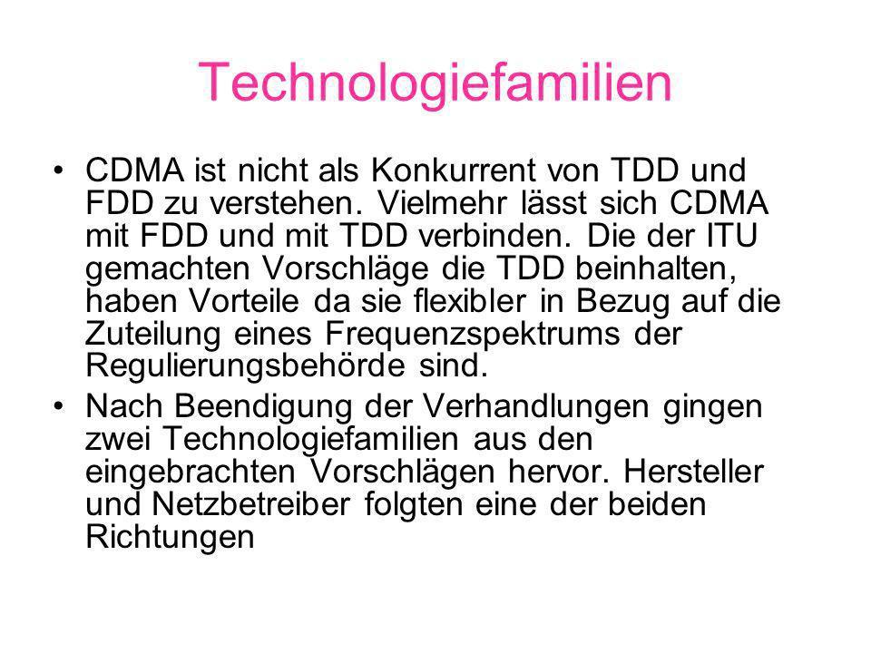 Technologiefamilien CDMA ist nicht als Konkurrent von TDD und FDD zu verstehen.