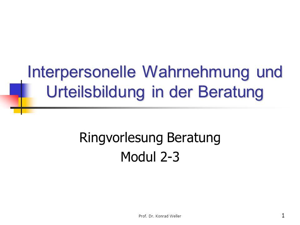 Prof. Dr. Konrad Weller 1 Interpersonelle Wahrnehmung und Urteilsbildung in der Beratung Ringvorlesung Beratung Modul 2-3