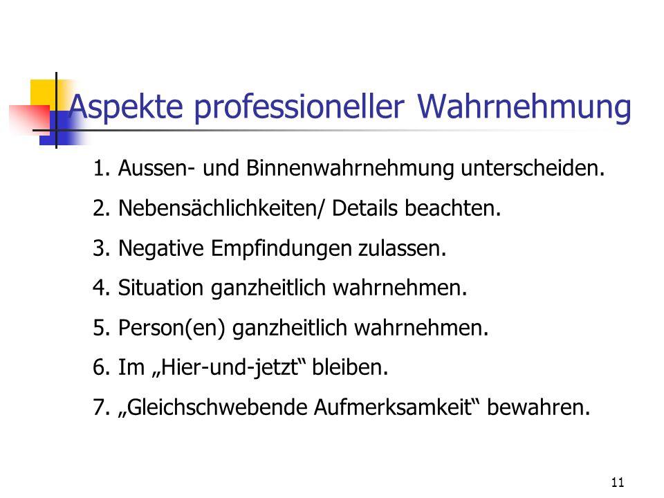11 Aspekte professioneller Wahrnehmung 1. Aussen- und Binnenwahrnehmung unterscheiden. 2. Nebensächlichkeiten/ Details beachten. 3. Negative Empfindun