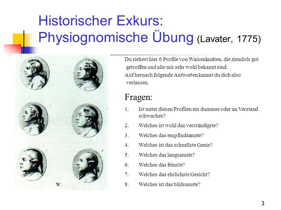 3 Historischer Exkurs: Physiognomische Übung (Lavater, 1775) Du siehest hier 6 Profile von Waisenknaben, die ziemlich gut getroffen und alle mir sehr
