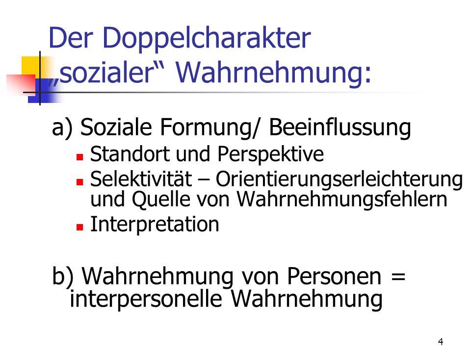 4 Der Doppelcharakter sozialer Wahrnehmung: a) Soziale Formung/ Beeinflussung Standort und Perspektive Selektivität – Orientierungserleichterung und Q