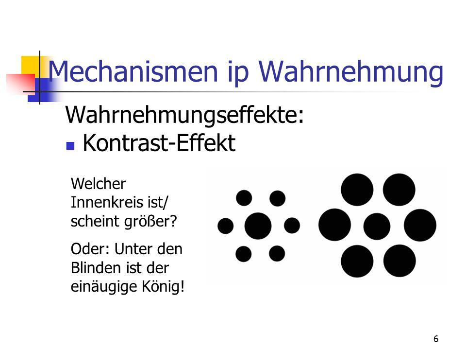 6 Mechanismen ip Wahrnehmung Wahrnehmungseffekte: Kontrast-Effekt Welcher Innenkreis ist/ scheint größer? Oder: Unter den Blinden ist der einäugige Kö