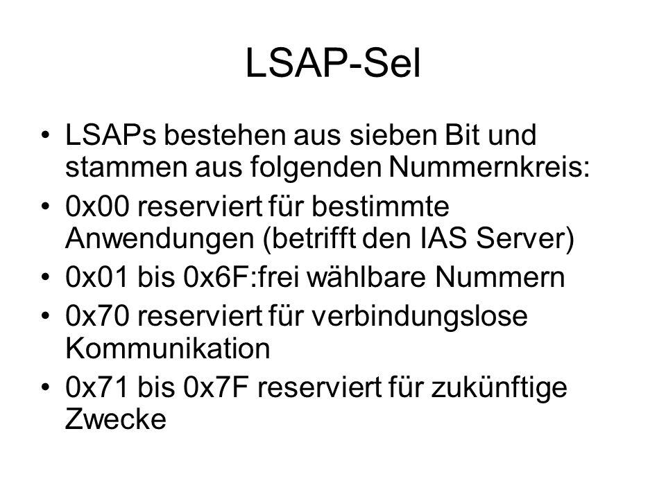 LSAP-Sel LSAPs bestehen aus sieben Bit und stammen aus folgenden Nummernkreis: 0x00 reserviert für bestimmte Anwendungen (betrifft den IAS Server) 0x01 bis 0x6F:frei wählbare Nummern 0x70 reserviert für verbindungslose Kommunikation 0x71 bis 0x7F reserviert für zukünftige Zwecke