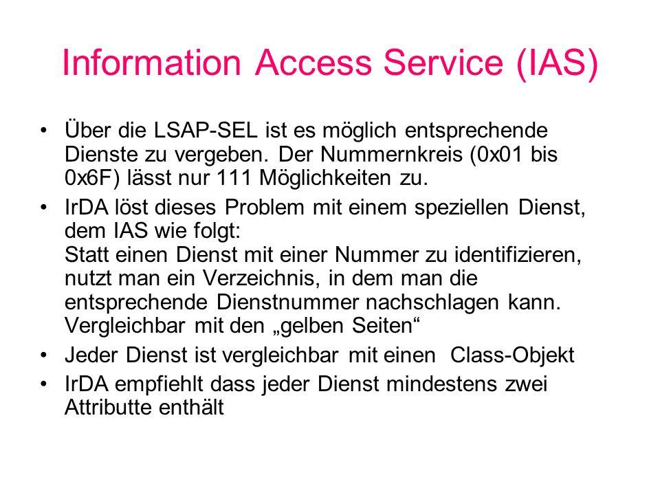 Information Access Service (IAS) Über die LSAP-SEL ist es möglich entsprechende Dienste zu vergeben.