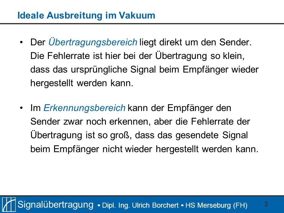 Signalübertragung Dipl. Ing. Ulrich Borchert HS Merseburg (FH) 3 Ideale Ausbreitung im Vakuum Der Übertragungsbereich liegt direkt um den Sender. Die
