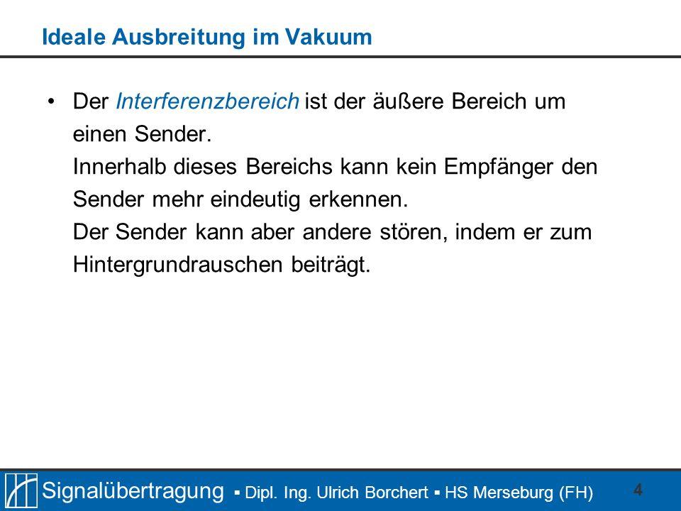 Signalübertragung Dipl. Ing. Ulrich Borchert HS Merseburg (FH) 4 Ideale Ausbreitung im Vakuum Der Interferenzbereich ist der äußere Bereich um einen S
