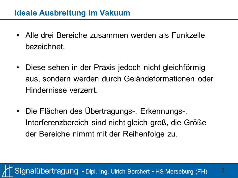 Signalübertragung Dipl. Ing. Ulrich Borchert HS Merseburg (FH) 5 Ideale Ausbreitung im Vakuum Alle drei Bereiche zusammen werden als Funkzelle bezeich