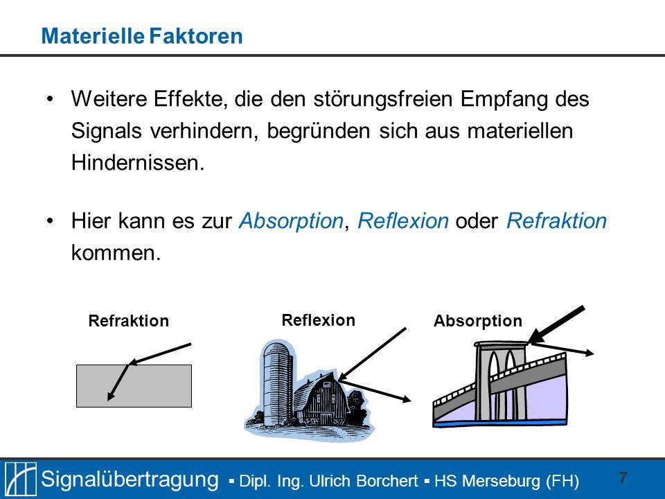 Signalübertragung Dipl. Ing. Ulrich Borchert HS Merseburg (FH) 7 Materielle Faktoren Weitere Effekte, die den störungsfreien Empfang des Signals verhi
