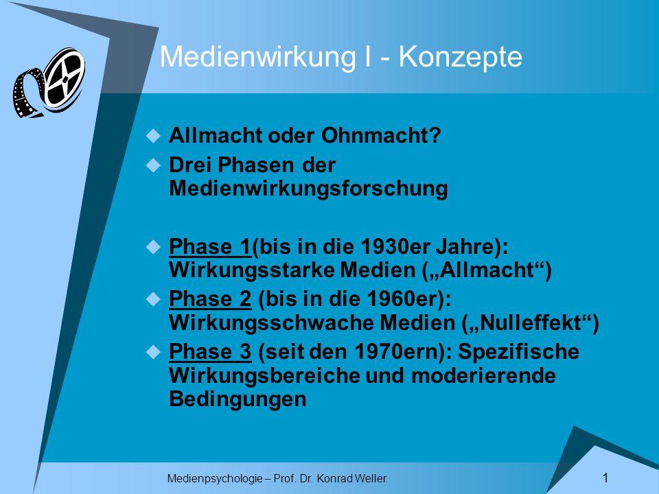 Medienpsychologie – Prof.Dr. Konrad Weller 1 Medienwirkung I - Konzepte Allmacht oder Ohnmacht.